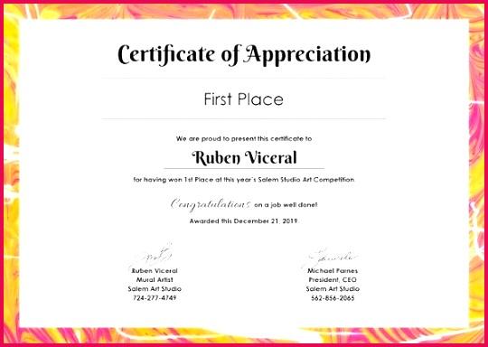 appreciation certificate template of word employee