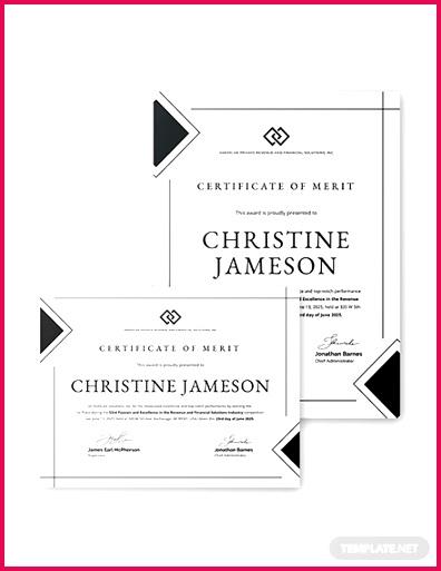 simple certificate of merit