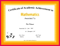 This free printable certificate of academic achievement in mathematics has equations and formulas decorating a bright orange border