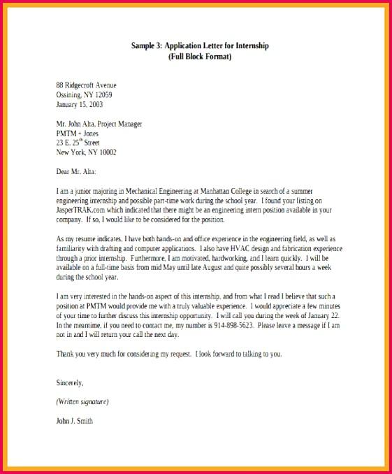 internship letter format students application for internship letter