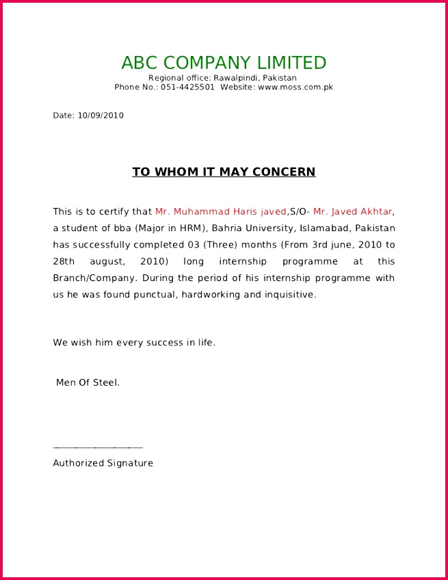 abc pany limited regional office rawalpindi pakistan phone sample certificate employment letter hashdoc
