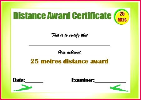 25m swimming certificate template
