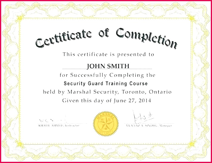 security guard certificate template of on the job training pletion ideas fire warden sample pretty best security guard certificate template of on the job training job specific training template