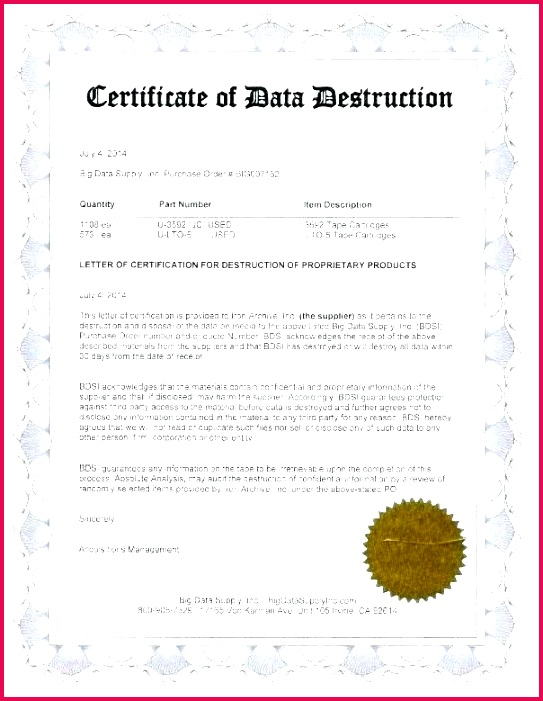 certifica destruction mpla free of ple hard drive letr certificate data template sample or inspirational letter top increase your ha