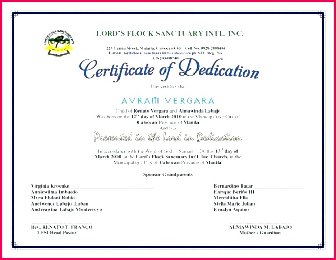 baby dedication certificate template child for resume australian birth sample format fascinating certifica