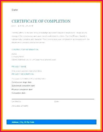 project pletion template for work certificates ms word excel certificate format school students