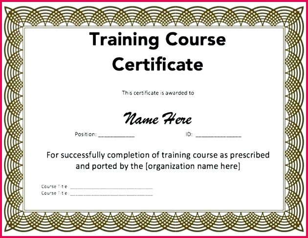 course pletion certificate template free elegant of training templates 100 attend