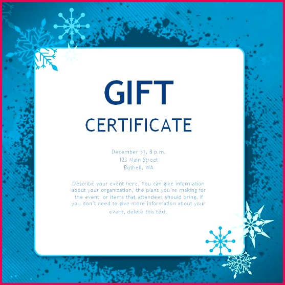 A Blue Christmas Gift Certificate Template