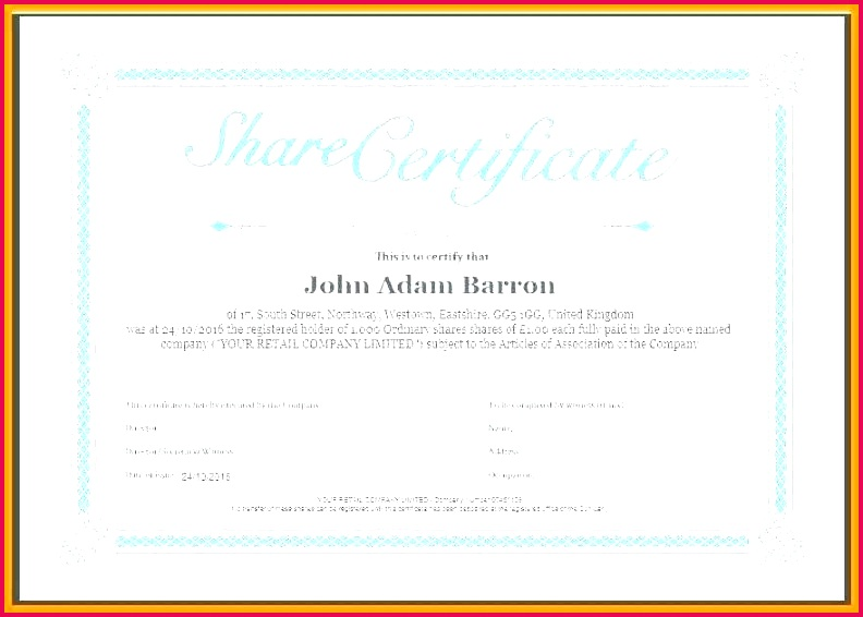 shareholder certificate template share certificates condo free doc uk