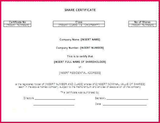 shareholder certificate template share panies house top result stock word best of free printable excel pany