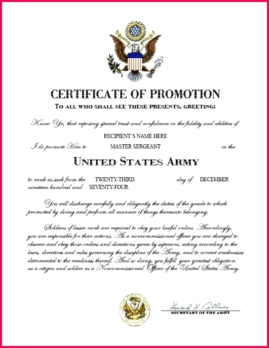 army certificate of promotion officer template pdf