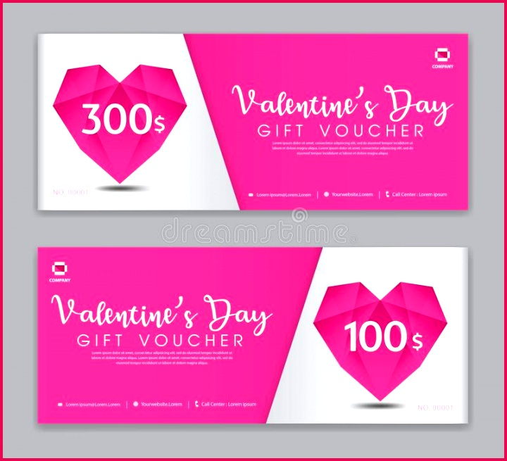 valentine s day t voucher template coupon discount sale banner horizontal layout cards headers website pink background vector