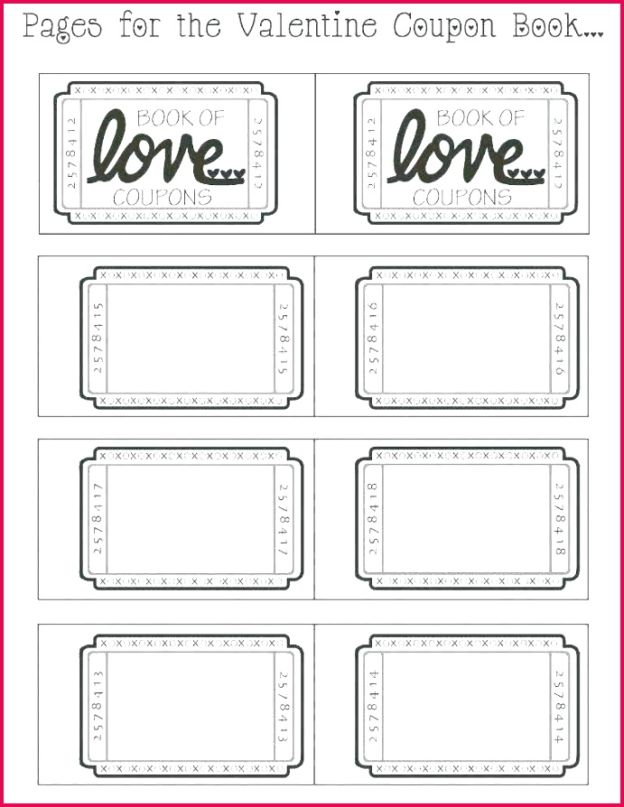 valentine printable romantic coupons sheet free coupon templates valentines day template