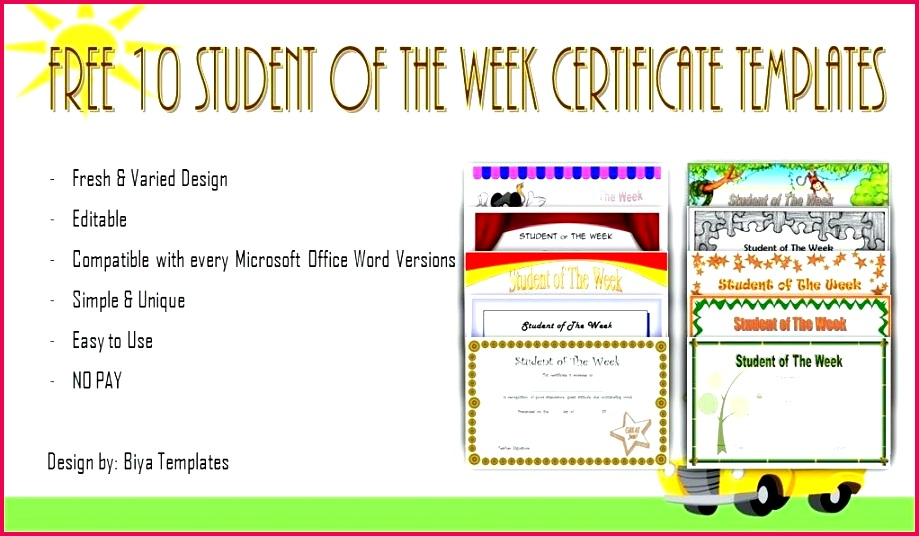 student of the week certificates word free editable certificate templates for photo large and printable appreciation editabl