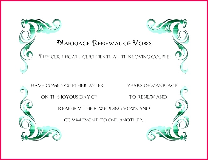 a simple green frame of free printable wedding vows renewal certificate template vow program templates marriage w