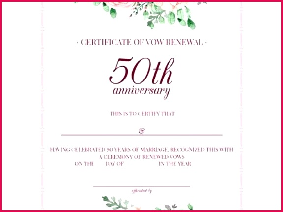 50th wedding anniversary certificate template free printable vintage floral 50th anniversary vow renewal of 50th wedding anniversary certificate template