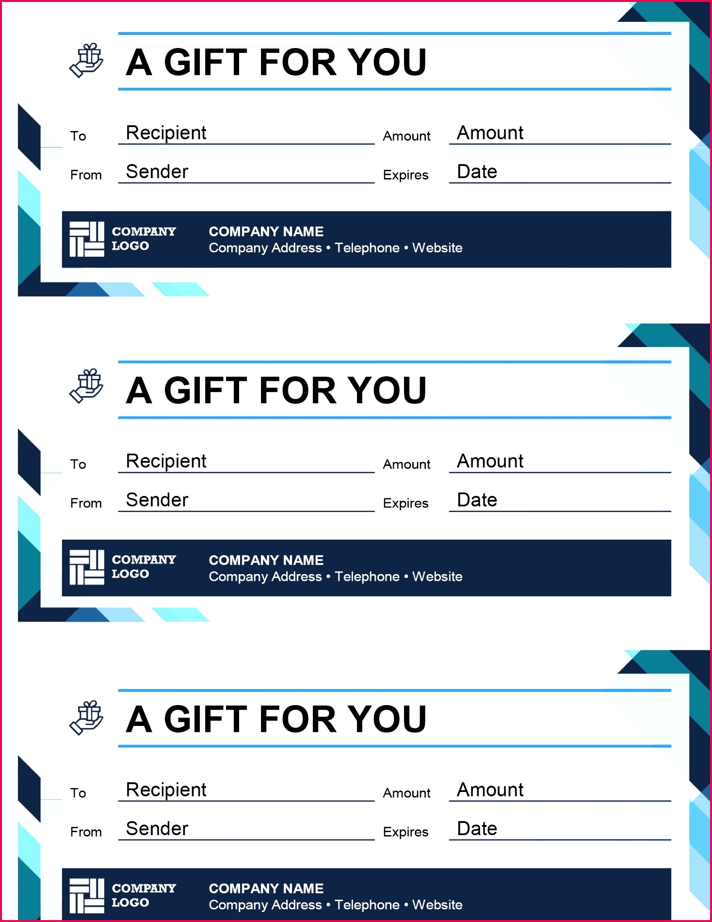 Gift certificates three per page