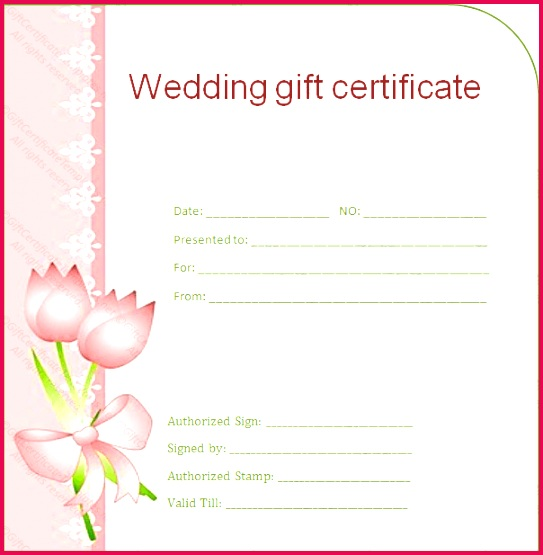 Side Border Wedding Gift Certificate Template sample doc