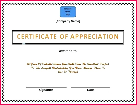free certificate of appreciation word template doc