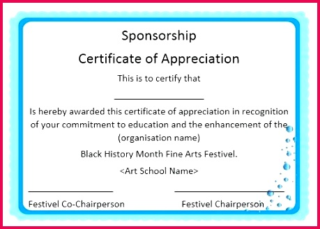 elegant certificates of appreciation for sponsorship free word templates certificate sample text