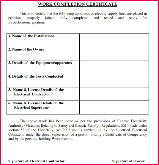 Work pletion Certificate Template 60