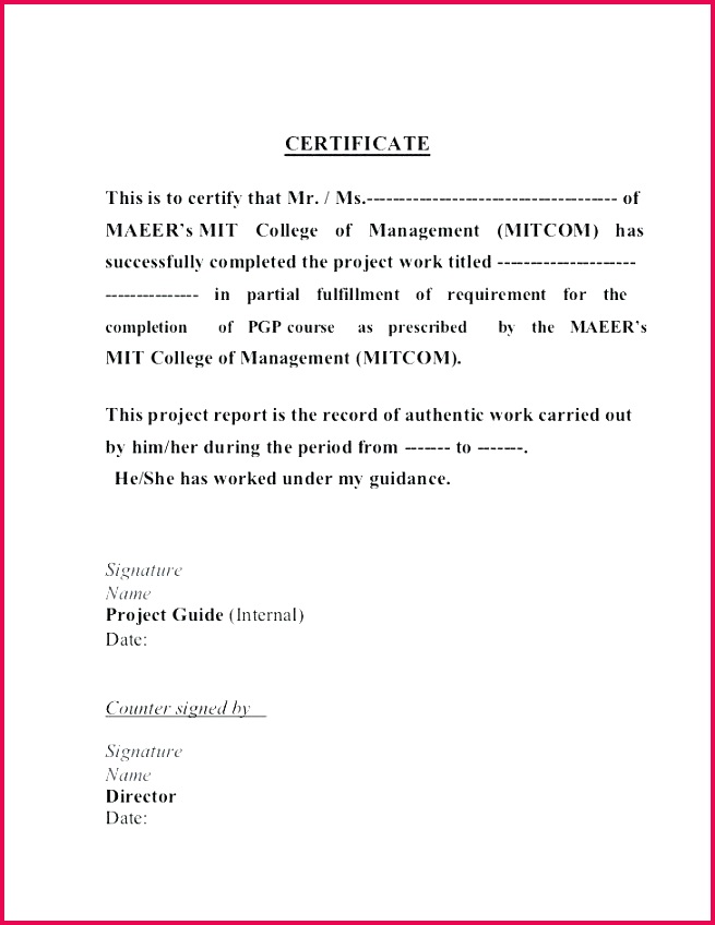 work pletion letter format sample project certificate course job experience