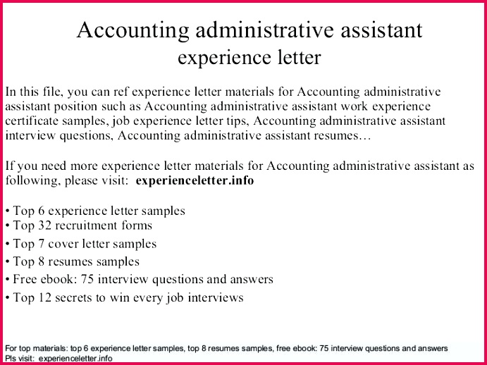 thumbnail job experience letter template c accounting administrative assistant