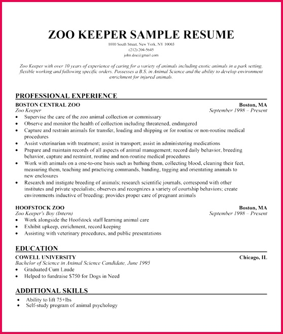 zookeeper resume examples examples resume resumeexamples how to write a zookeeper resume