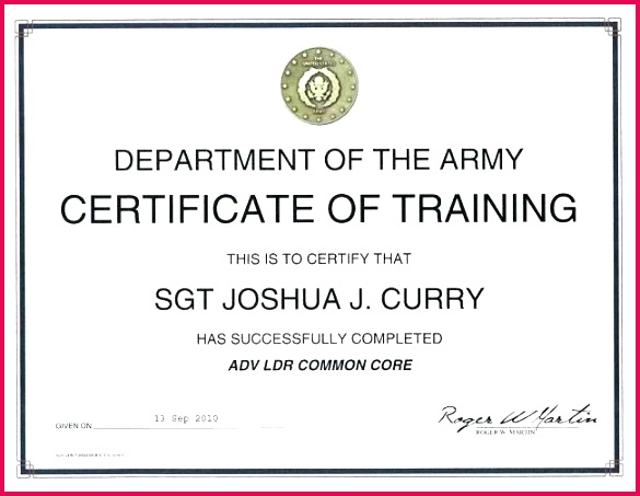 army certificate of pletion template condo training us templates