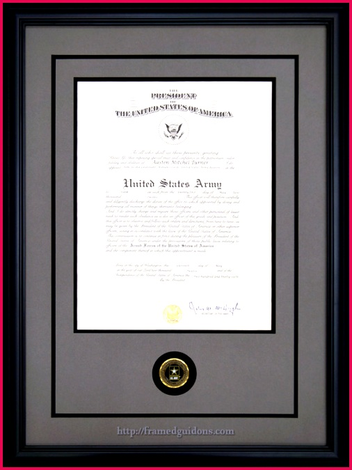 Framed Army Promotion Certificate