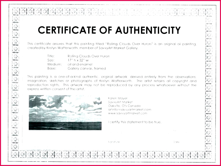 art authentication certificate template signature certificate of authenticity template free art authentication certificate template