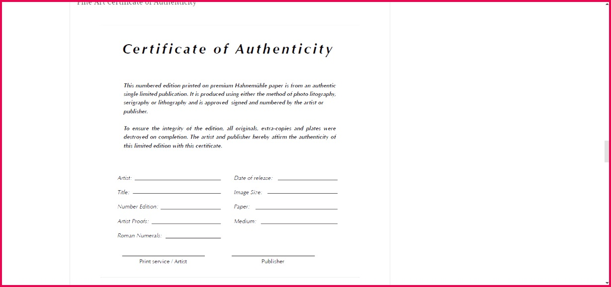 013 template ideas certificate of authenticity