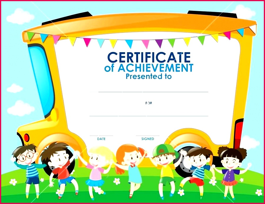 certificate template with children and school bus illustration free printable childrens templates templ