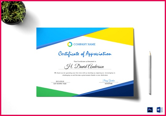 pany Appreciation Certificate Design Template