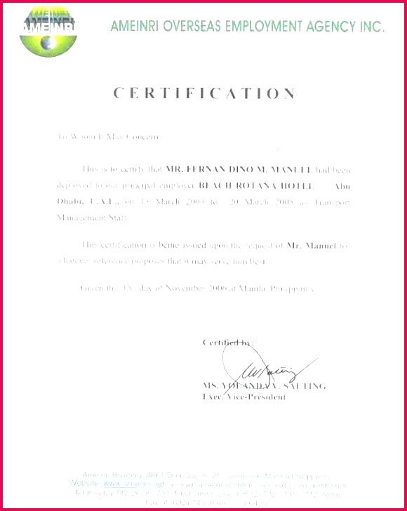 certificate employment sample letter example templates of service template legal format what is a form