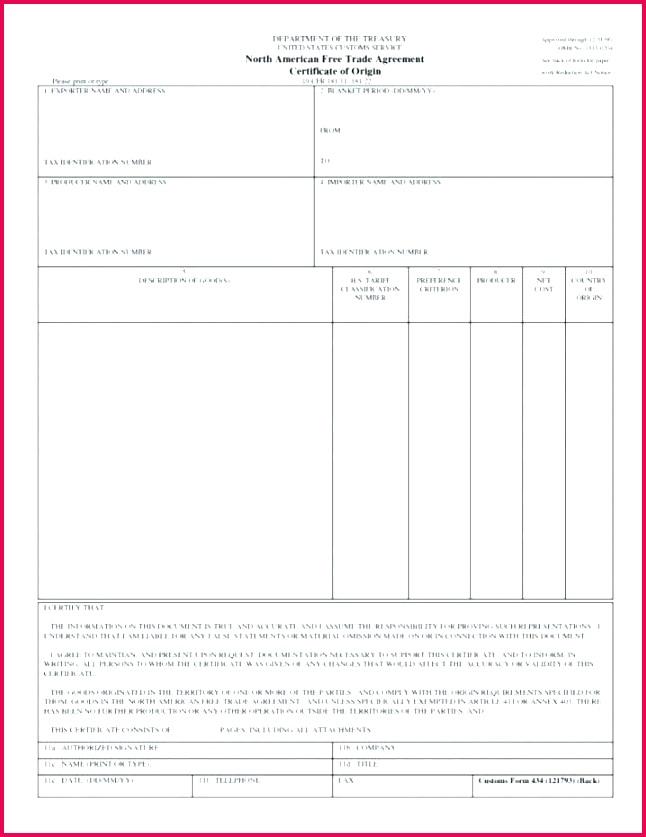 nice generic certificate of origin template us new