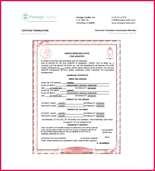 marriage certificate translation template gallery example