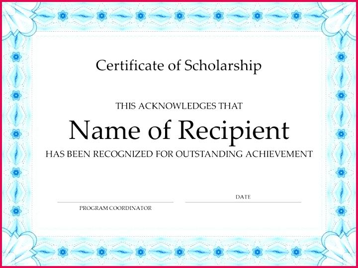 certificate of scholarship formal blue border typing certificate template typing test certificate format