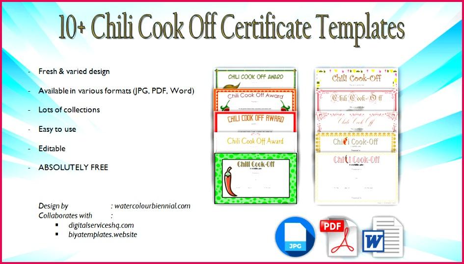 10 Chili Cook f Certificate Templates