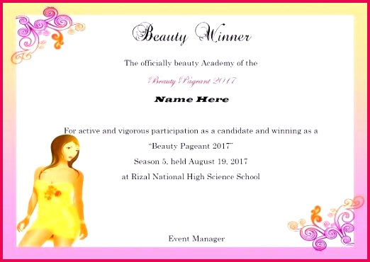 beauty pageant certificate template at winning winner word