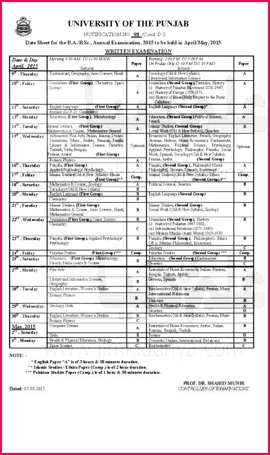 Punjab Uviversity Ba BSc Date Sheet 2015