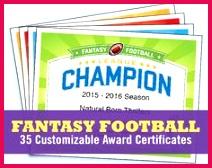 Fantasy Football Certificates fantasy football trophy champion Award Templates fantasy football lovers Etsy Top Sellers championship