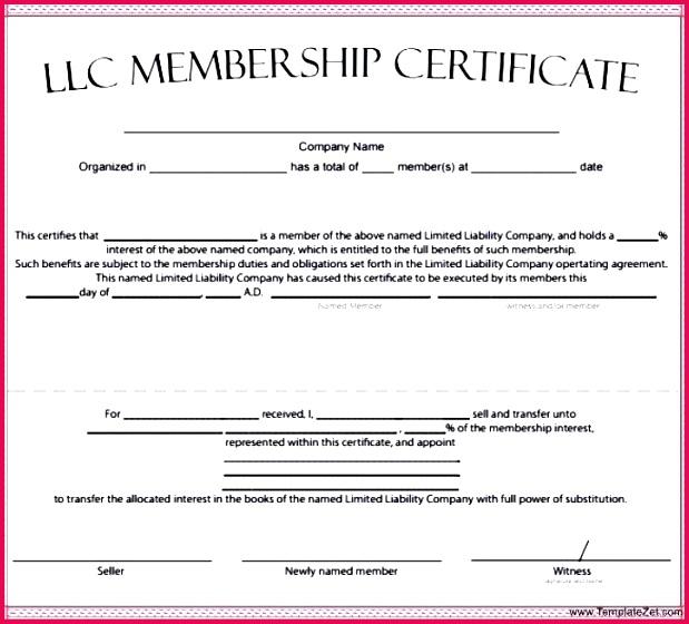 membership certificate template unit llc free