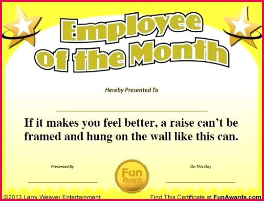 employee of the month certificate free funny award template awards for employees safety templates