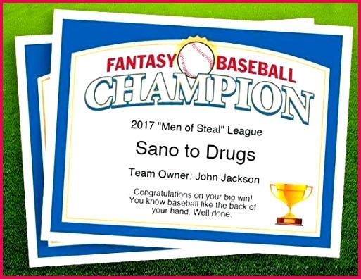fantasy baseball champion certificate 1 free award certificates templates image 0