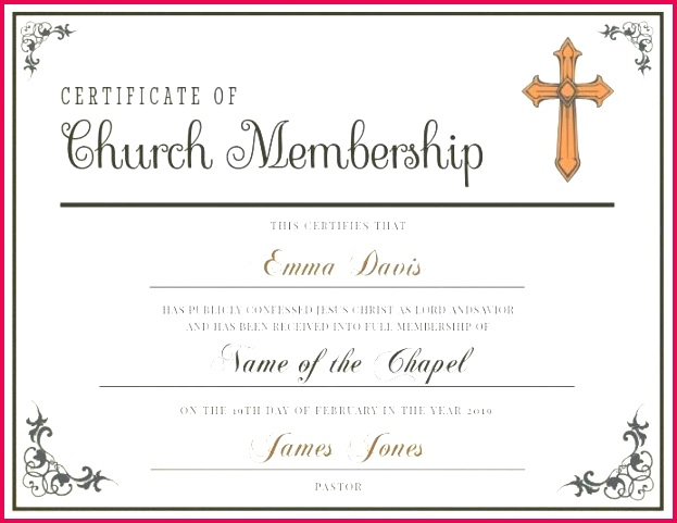 classic church membership certificate template excel letter