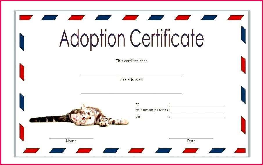 pet adoption certificate template stuffed animal dog child birth powerpoint 2019