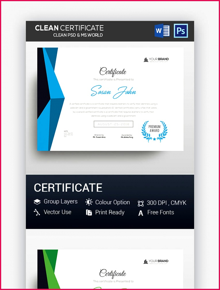 Clean PSD MS Word Certificate GraphicRiver
