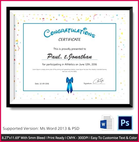Simple Participant Congratulations Certificate