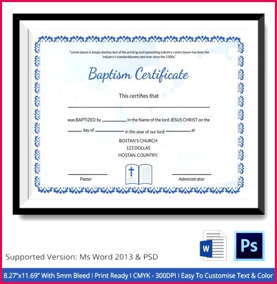 Editable Baptism Certificate Template